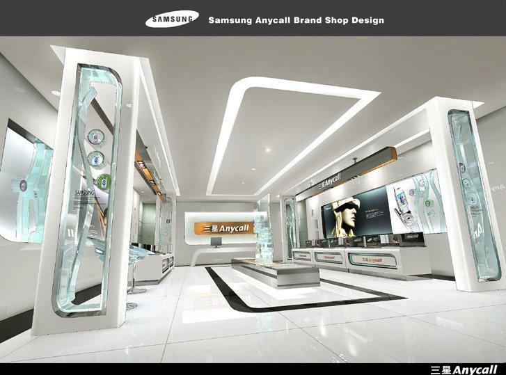 三星anycall手机品牌专卖店室内设计浙江金华绿色建筑设计标准图片