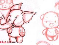 Painter手繪可愛的卡通小豬
