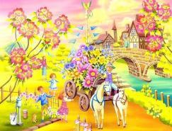 充满鲜花的美丽插画