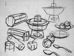 結構素描靜物默畫的表現方法