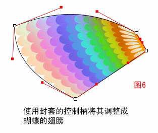 蝴蝶 coreldraw/接下来,继续该图封套效果的制作,使用鼠标分别调整该图四角的...
