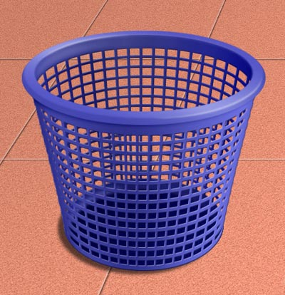 Photoshop绘制逼真三维网格垃圾桶