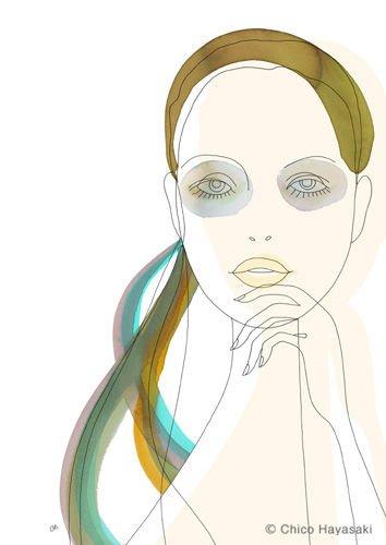 日本ChicoHayasaki线条风格的时尚插画欣赏