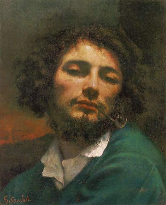 在1846年间他创作了以自己为主题的抽烟斗的人。这幅画富有灵感, 暗红色的背景,灰色的上衣,带有灰绿色阴影的白色衬衫,黑色的头发和胡子围笼着带有橄榄色阴影的微红脸部;这个脸画得犹如提香的手法那有有力。肩膀厚实,脸部的柔和感觉表现得极其雅致。这种雅致的感觉还扩而及于深调子,涉及突出在深暗背景上的形体,使得这个得意而调皮、富有幻想的、似乎沉醉在熏污烟斗的烟雾之中的脸,盖上了安逸而幸福的烙印。造型的想象力是雅致的绘画处理基础;以现实主义手法表现出来的安逸姿态,突出着浪漫主义的幻想神情。在这幅自画像上,库尔