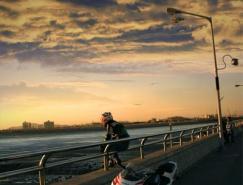 Photoshop合成教程:日落的摩托手