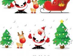 圣誕老人和圣誕樹矢量圖下載