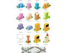 各种城市建筑图标矢量素材