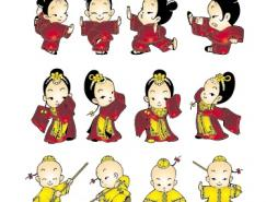 卡通风格小孩武术动作矢量素材