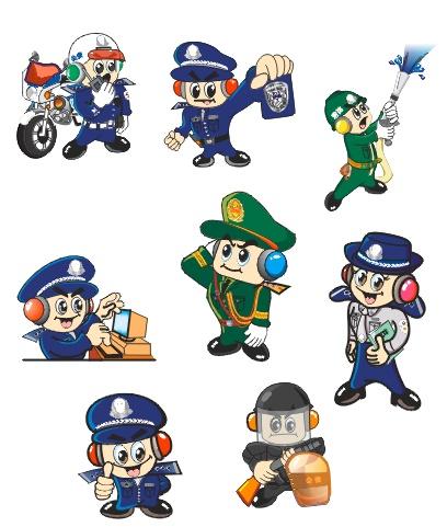 关键字: 警察 交通警察 消防警察 防暴警察 女警-警察卡通形象矢量素材