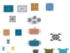 中国传统花纹花边底纹矢量素材(8)