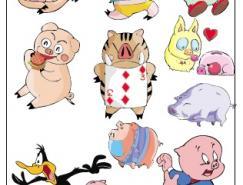 可愛卡通小豬矢量素材