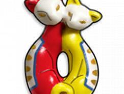 彩色陶瓷工艺猫PNG图标