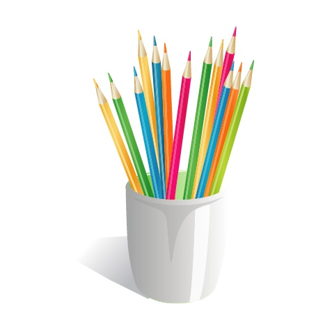 铅笔桶矢量素材