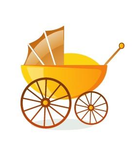 婴儿推车矢量素材