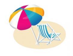 沙滩伞沙滩椅矢量素材