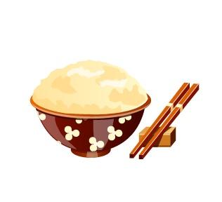 筷子和一碗米饭矢量素材