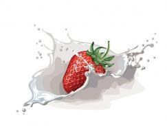 草莓和飞溅的牛奶矢量素材
