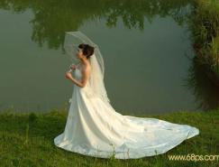 Photoshop调色教程:晚霞中的美丽新娘