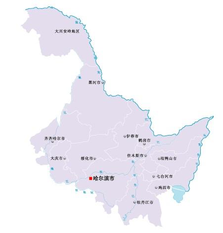 黑龙江省地图矢量素材(eps格式)