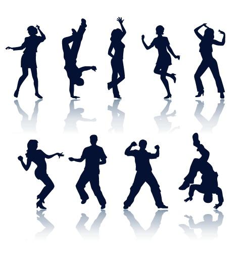 各种跳舞人物剪影矢量素材