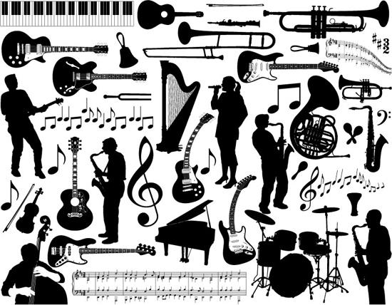 字:各种乐器 音符 五线谱 吹萨克斯的人 弹吉它的人 琴键-音乐相关