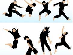 各种跳跃人物剪影矢量素材