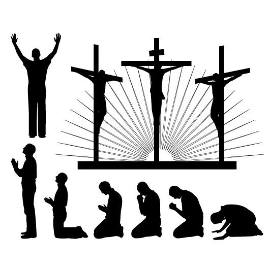 宗教信仰祈祷人物剪影矢量素材