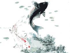水墨风格鱼矢量素材(2)