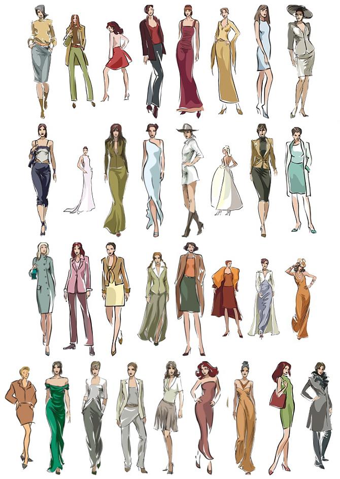 手绘风格时装女模特矢量素材