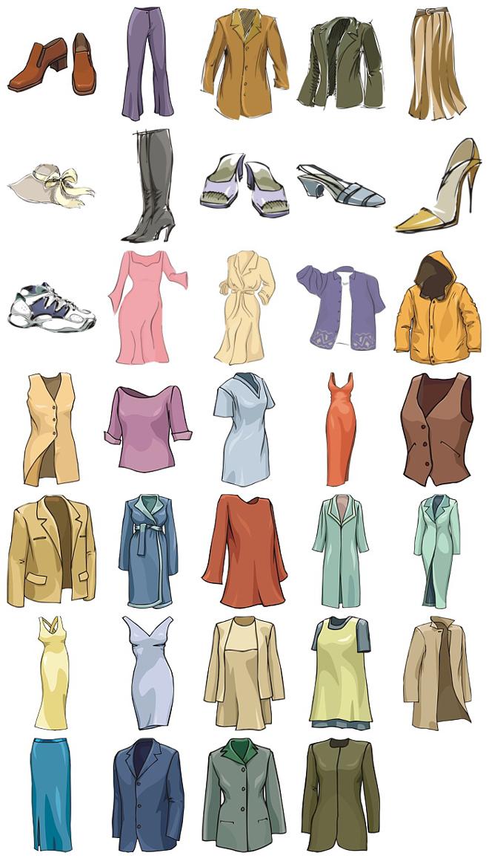 手绘风格各式服装矢量素材