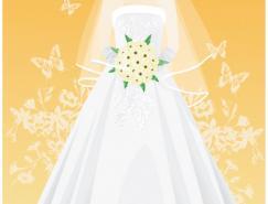 韩国时尚婚纱新娘矢量素材