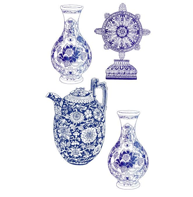关键字: 花瓶,陶瓷,青花瓷,AI格式,矢量花瓶-四款精美青花瓷矢