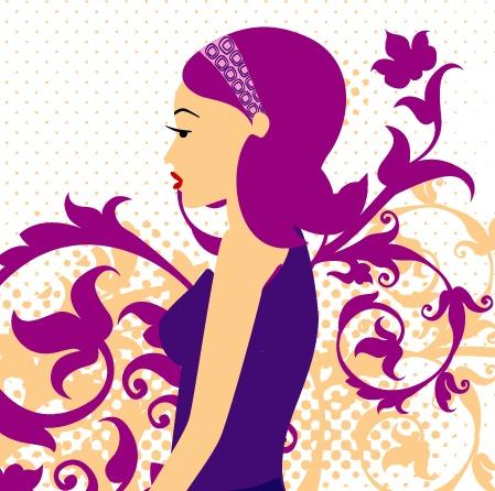 动漫紫色长发女生背影
