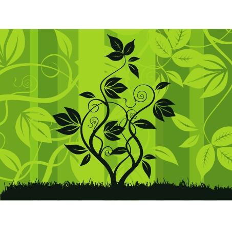 绿色花纹背景的树枝藤蔓矢量素材