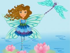 带翅膀的女孩矢量素材