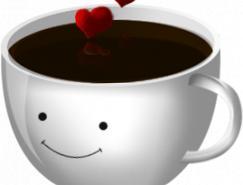 爱心卡通咖啡杯PNG图标