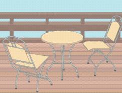 休闲桌椅矢量素材
