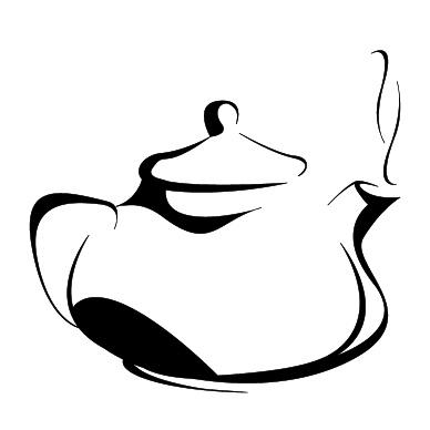 黑白手绘茶壶矢量素材