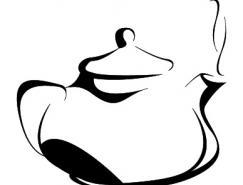 黑白手繪茶壺矢量素材