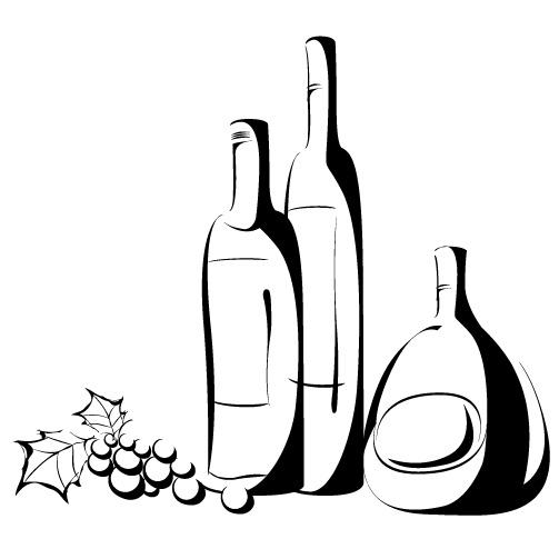 手绘葡萄酒瓶矢量素材