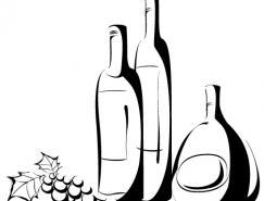 手繪葡萄酒瓶矢量素材