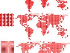 三種不同形狀組成的矢量世界地圖