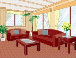 客厅室内装饰矢量图(33)
