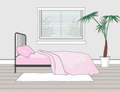 卧室室内装饰矢量图(41)