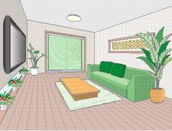 客厅室内装饰矢量图(49)
