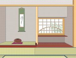 日本风格室内装饰矢量图(68
