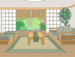 日本风格室内装饰矢量图(71)