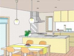 餐厅室内装饰矢量图(76)