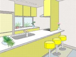 厨房室内装饰矢量图(78)
