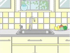 厨房室内装饰矢量图(79)